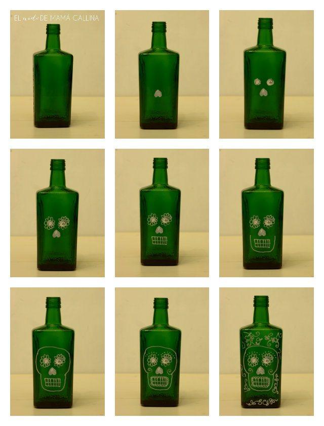 candeleros de calaverita con botellas de vino