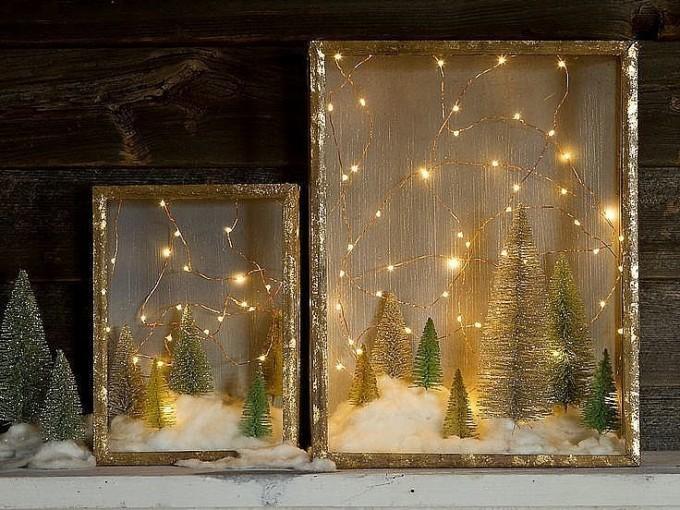 Maquetas: Puedes lograr que tu cuadro favorito tenga mayor luz sólo colocando pequeñas luces de navidad alrededor de este.