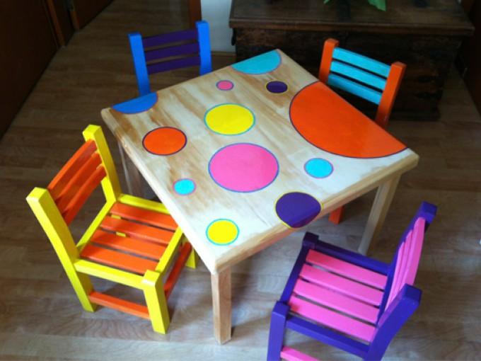 Muebles pintados a mano me lo dijo lola - Mesita con sillas infantiles ...