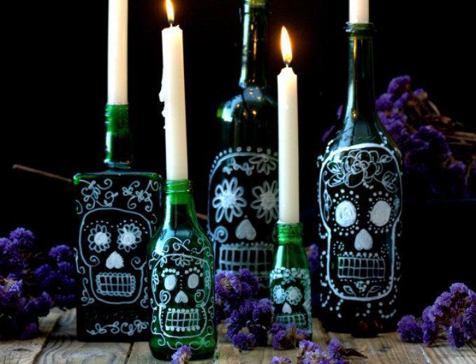 Botellas de calavera para tus velas me lo dijo lola - Botellas con velas ...