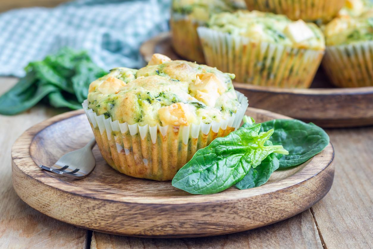 Muffins de atún con espinaca