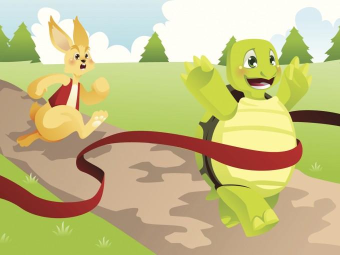 La Liebre y La Tortuga, fábula para niños. Foto: iStock