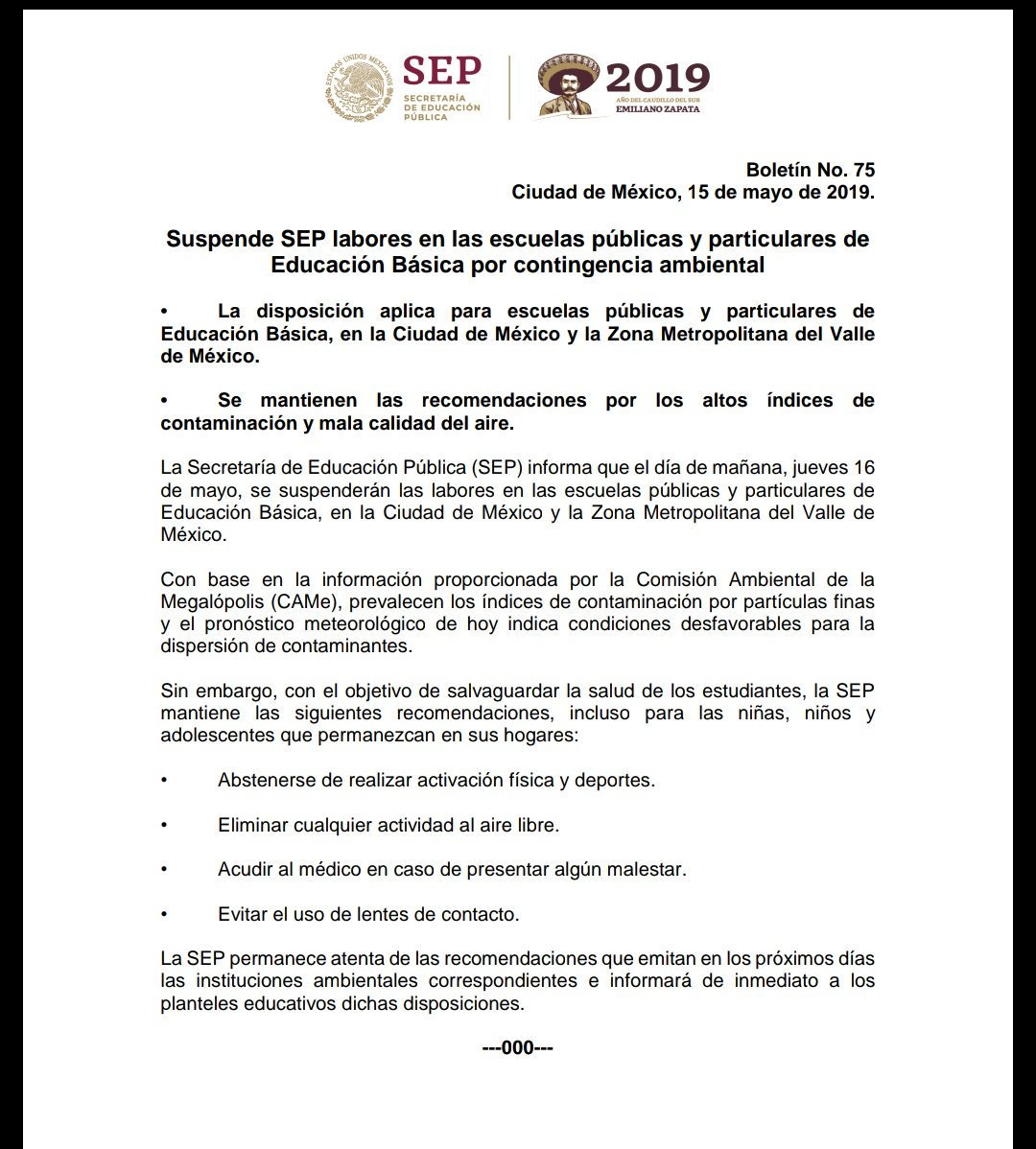 SEP suspende labores